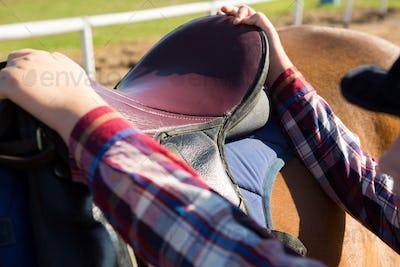 Close-up of girl adjusting saddle on horse