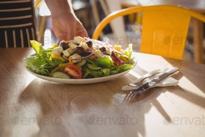 Cropped hand of waiter serving salad on table