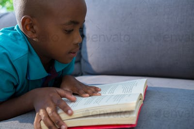 Close-up of boy reading novel on sofa at home