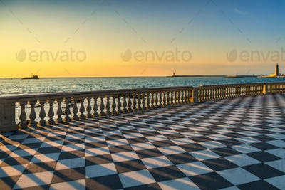 Mascagni Terrazza terrace and harbour entrance at sunset. Livorn