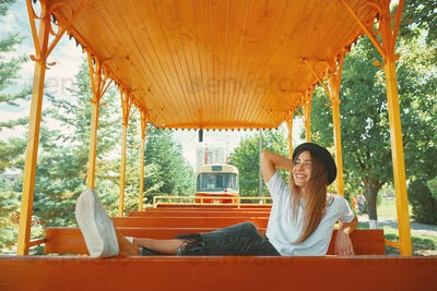 Cheerful girl enjoying jorney