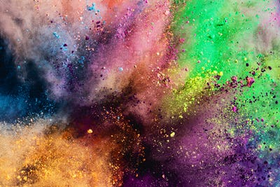 Colorful holi powder explosion.