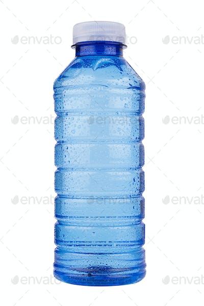 blue plastic vitamin water bottle on white background