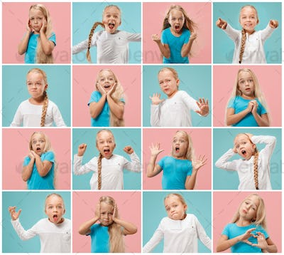 The collage of different human facial expressions, emotions and feelings of young teen girl.