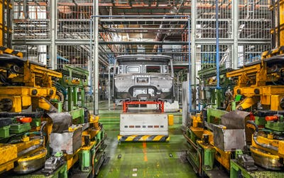 Stopped equipment with car frame in car factory