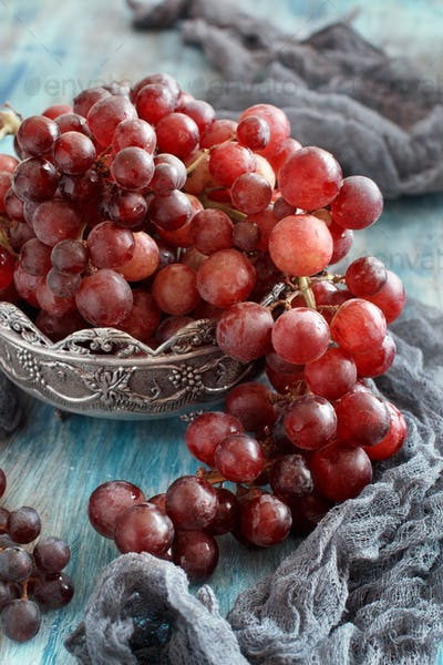 Grapes in a silver bowl