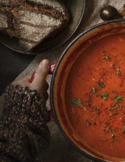 Tomato soup food photography recipe idea
