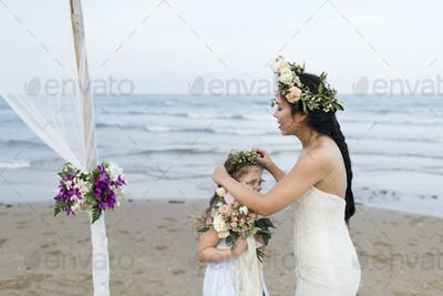 Young Caucasian couple's wedding day