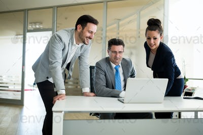 Business people conference in modern meeting room in office