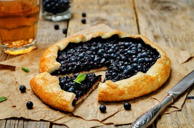 Blueberry galette with fresh blueberries