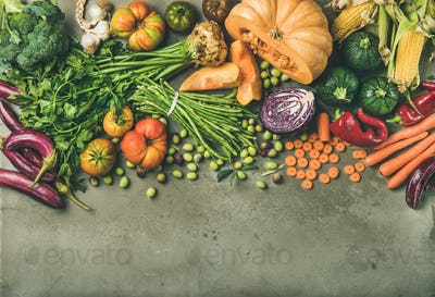 Healthy vegetarian Fall food cooking background with fresh vegetables