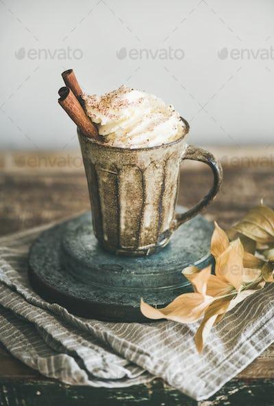 Hot chocolate with whipped cream and cinnamon in mug