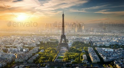 Aerial view on Eiffel Tower