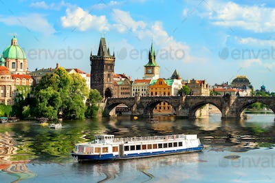 Touristic boat in Prague