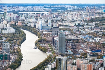west of Moscow city with Moskva river in dusk