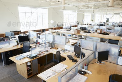 Partitioned computer workstations in an open plan office