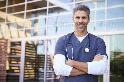 Middle aged white male healthcare worker outdoors, portrait