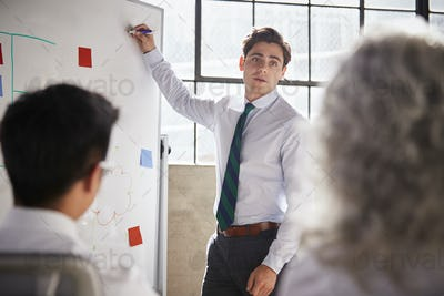 Young white businessman uses whiteboard in meeting, close up