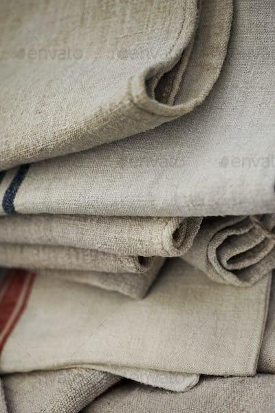 Close up of rustic line towels