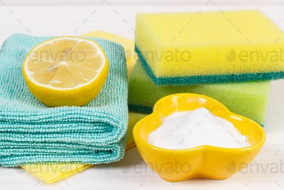 Colorful accessories and natural, nontoxic detergents for cleaning different surfaces
