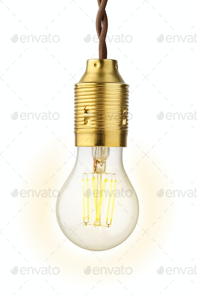 LED filament bulb glowing