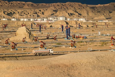 gobi oil field operation area closeup