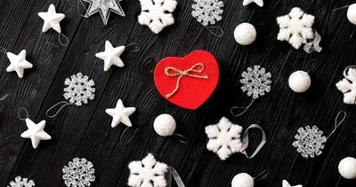Christmas decorations and gift in heart shape