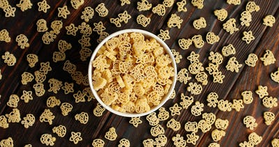 Bowl of pasta on wooden table