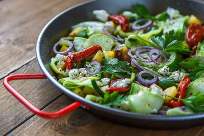 Vegetable stir fry. Healthy food. Top view.