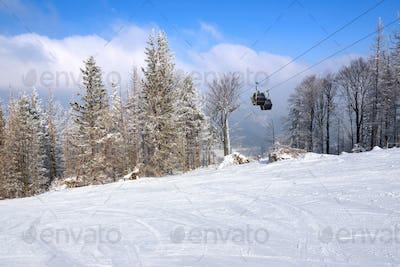 Gondola lift over the ski slope in Szczyrk