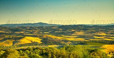 Tuscany countryside view from Montegiovi. Tuscany, Italy