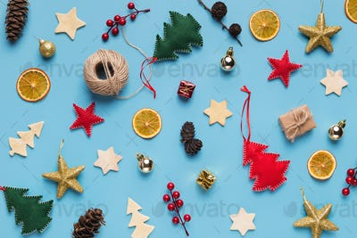 Christmas holiday decorations collection on blue background