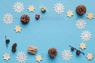 Christmas frame made of natural winter decorations