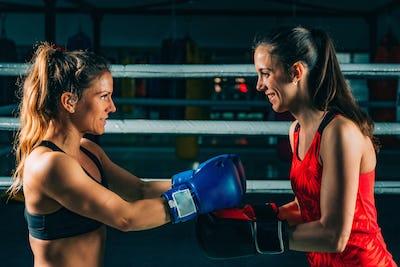 Women after boxing match