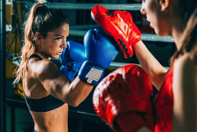 Women on boxing training