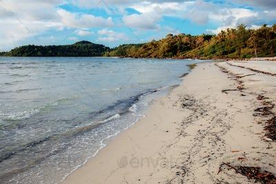 Sand beach with dirty