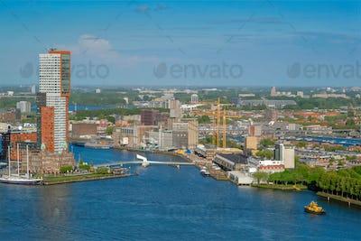 View of Rotterdam city and Nieuwe Maas river