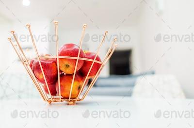 Metal Fruit Basket with Apples