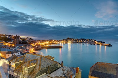 Twilight at the beautiful seaside town of St. Ives