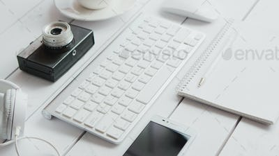 Office gadgets and photo camera
