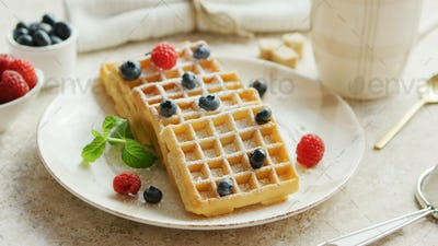 Waffles and berries on plate