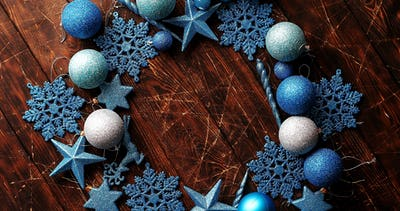 Blue decorative snowflakes and balls