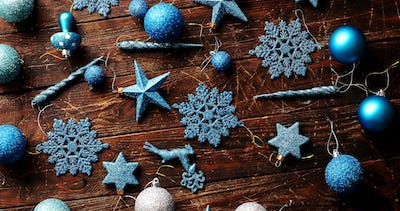 Blue Christmas decorations on table