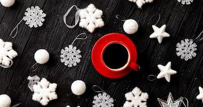 Christmas decorations around hot beverage