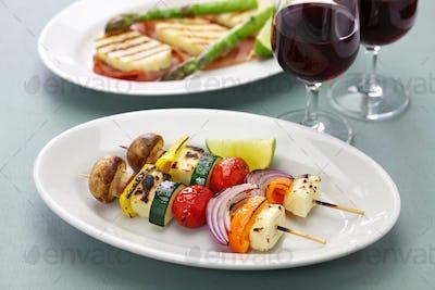 grilled halloumi cheese vegetables skewers kebab, healthy vegetarian dish
