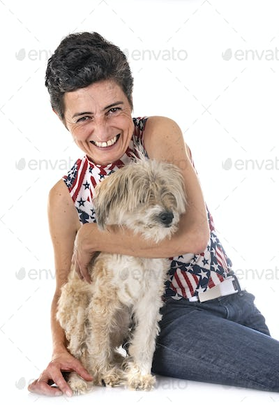 old tibetan terrier and woman