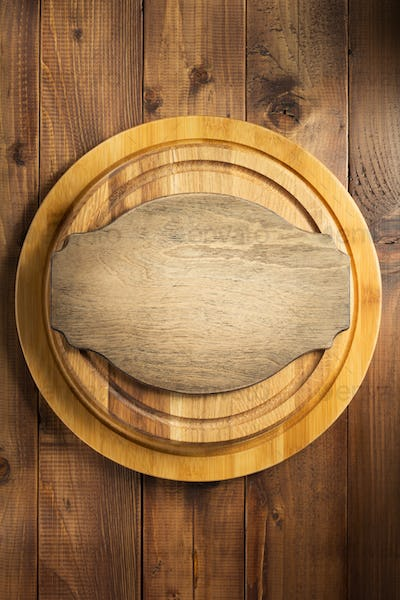 retro signboard at wooden cutting board