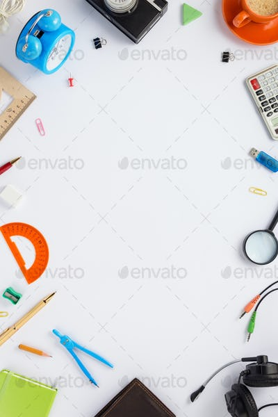 school accessories on white  background