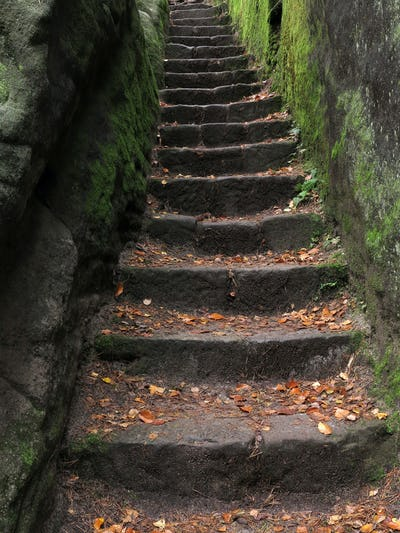 Stone stairs carved in rock