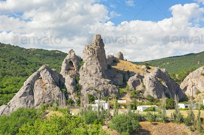 The mountain is an unusual form with a grotto